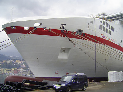 CRUISE OLYMPIA in construction at Castellammare di Stabia. Giant bow.