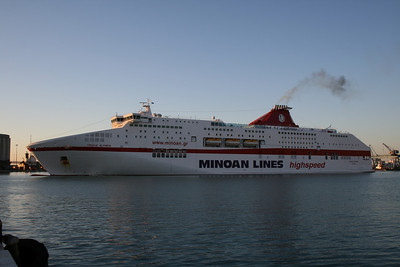 CRUISE OLYMPIA maneuvering in Ancona, arrival from Patra - Igoumenitsa.