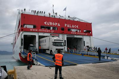 F/B EUROPA PALACE disembarking in Corfu.