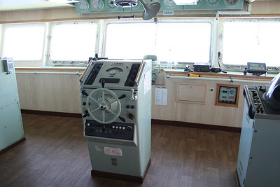 2010 - On board F/B IONIAN SKY : the bridge, helm wheel.