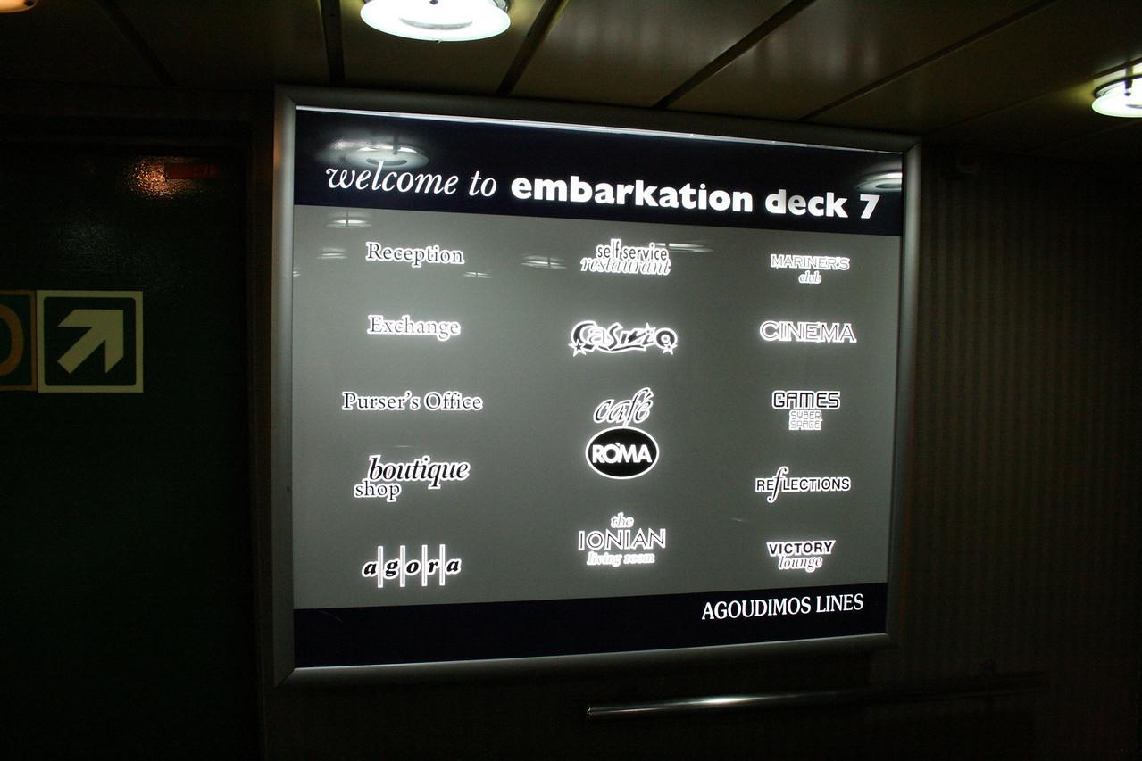 2010 - On board F/B IONIAN SKY : welcome desk, deck 7.