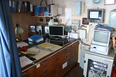 2010 - On board F/B IONIAN SKY : the bridge, navigator's desk.