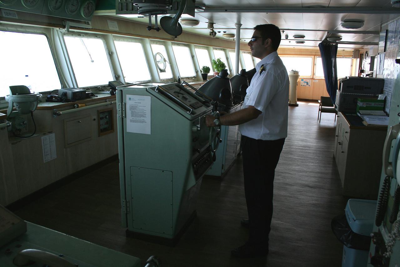 2010 - On board F/B IONIAN SKY : the bridge, officer on duty.