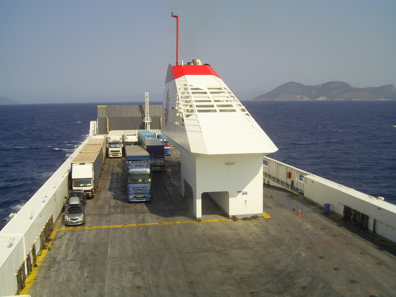 2012 - On board SUPERFAST II : Deck 4 and funnel.