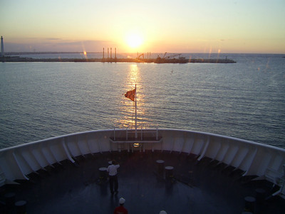 2012 - On board SUPERFAST II : sunset forward.