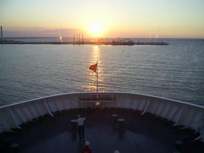 2012 - On board SUPERFAST II : sunset forward.