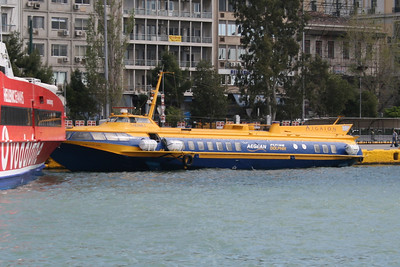 2008 - Hydrofoil FLYING DOLPHIN HERMES moored in Piraeus.
