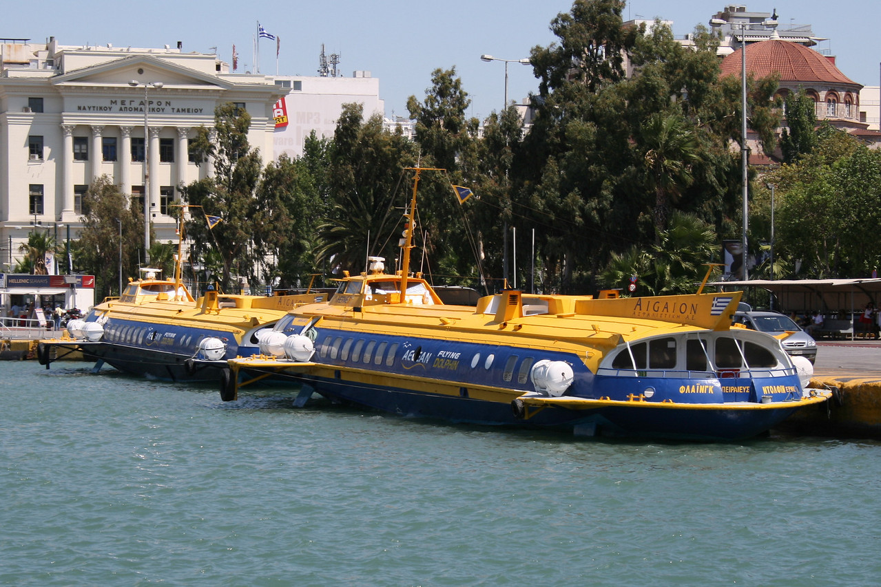 2009 - Hydrofoil FLYING DOLPHIN HERMES moored in Piraeus, with FLYING DOLPHIN ZEUS.