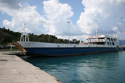Open deck ferry AGIOS DIMITRIOS moored in Corfu.