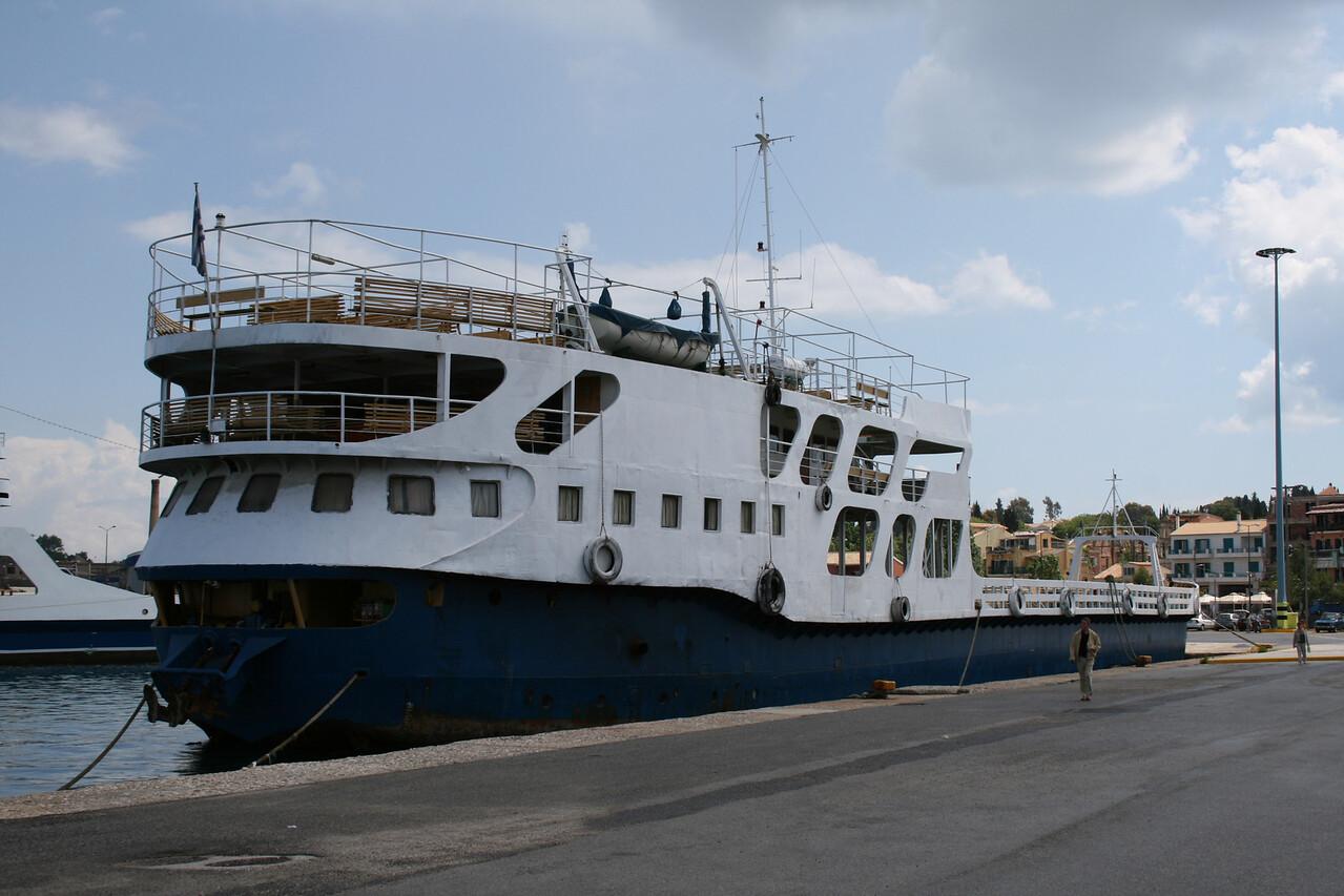 Open deck ferry AGIOS DIMITRIOS moored in Corfu.