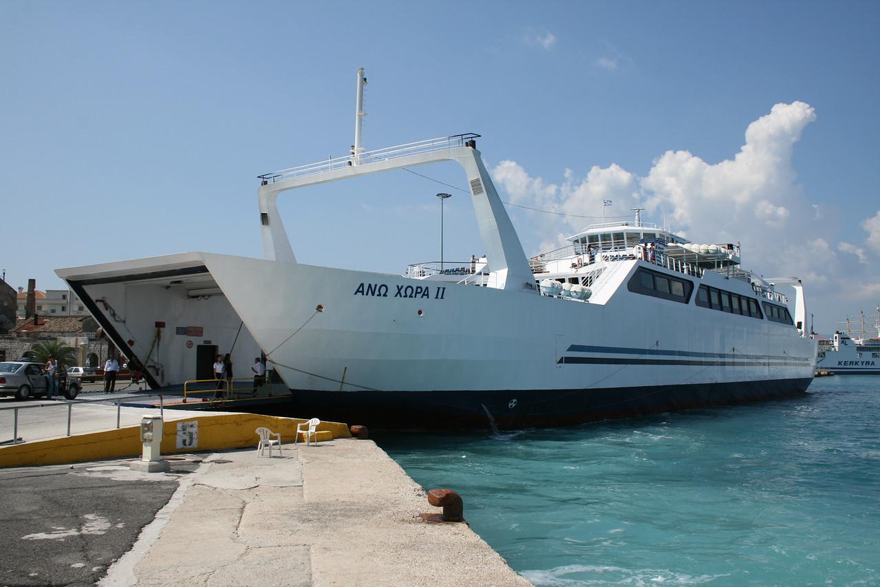 Open deck two-way ferry ANO CHORA II moored in Corfu.