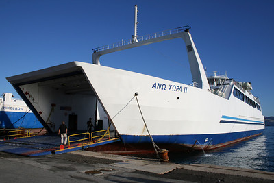 Open deck two-way ferry ANO CHORA II moored in Corfu.