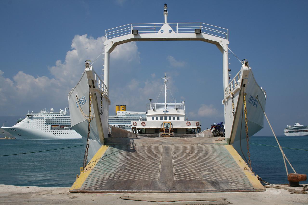 Open ferry ASPASIA in Corfu. At bottom COSTA VICTORIA and LEGEND OF THE SEAS.