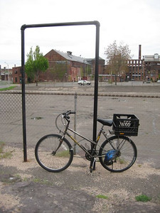 "My old bike (still has a CA registration sticker on it), with crate converting it into a ""station-wagon"" bike."