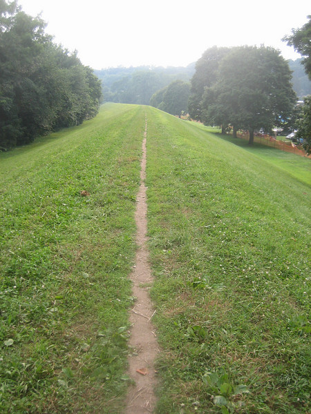 Panorama view #10.    Now let's walk along this dike, heading back past the Festival. (downstream in relation to river)
