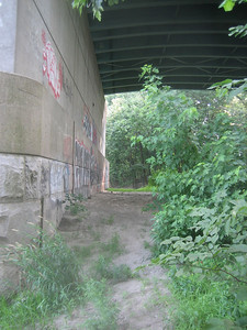 Turning back toward the I-391 Bridge, you can see bicycle tracks and other evidence that this may be ...