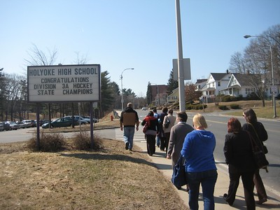 """We walked up Beech Street by the High School, then walked through the parking lot toward the wooded """"dingle""""."""