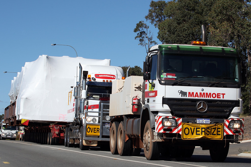 Mammoet's moving 2 x 16 line loads to Karara Iron Ore project , using a Mercedes Actros 3351 and a Western Star Constellation 4900