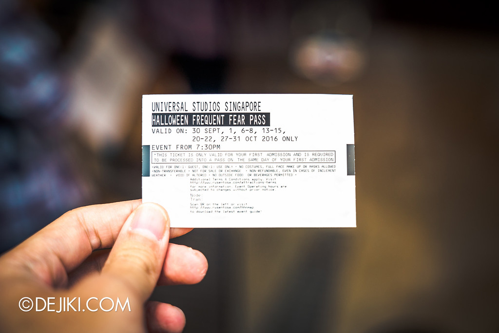 Universal Studios Singapore - Halloween Horror Nights 6 Before Dark Day Photo Report 1 - Frequent Fear Pass voucher
