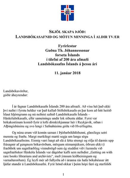 Grein 1: 11. jan.-Vefsvæði forseta Íslands: Skjalasöfnun - Gildi skjalasöfnunar og hættur