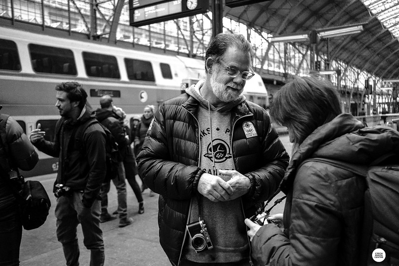 Spencer leads a street photography workshop in Prague, Czech Republic