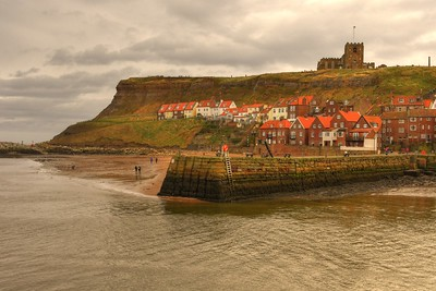 MOUTH OF WHITBY HARBOUR AND ABBEY