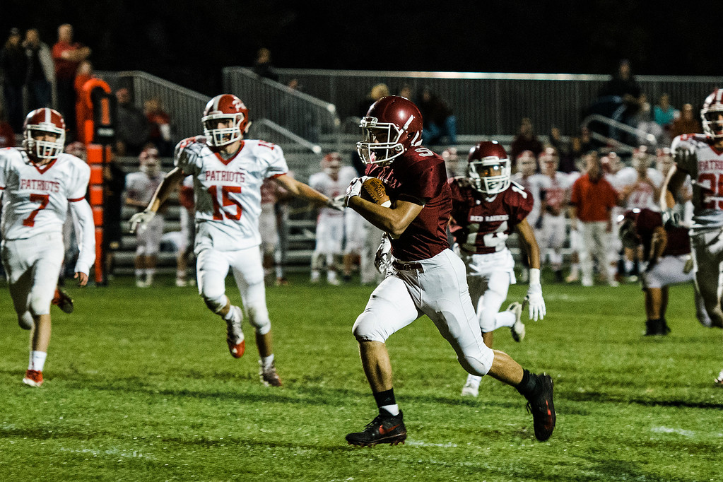 . Fitchburg\'s Mike Nowd runs it in for a touchdown during the game against North Middlesex on Friday, September 29, 2017. SENTINEL & ENTERPRISE / Ashley Green