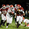 Fitchburg's Sal Figueroa outruns the North Middlesex defnse during the game on Friday, September 29, 2017. SENTINEL & ENTERPRISE / Ashley Green