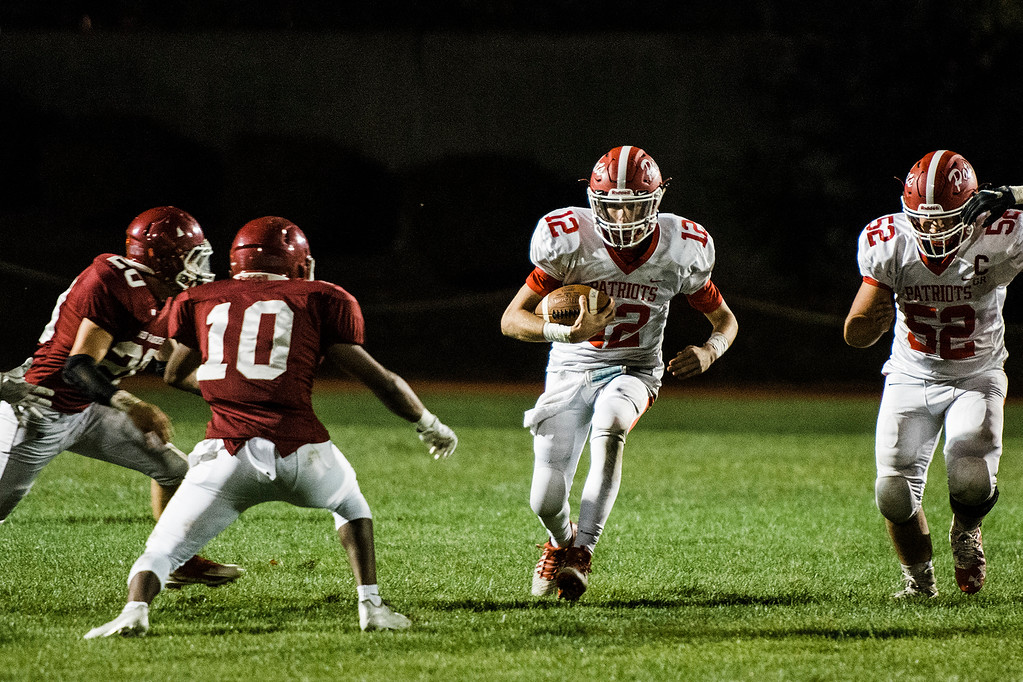. North Middlesex\'s Josh LeBlanc runs the ball during the game against Fitchburg on Friday, September 29, 2017. SENTINEL & ENTERPRISE / Ashley Green