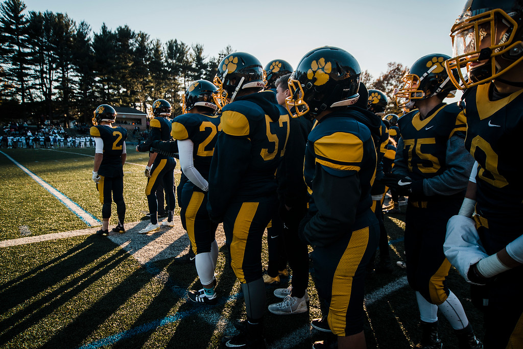 . The Littleton Tigers look on during the Central Mass D6 championship against St. Peter-Marian on Saturday, November 11, 2017. Littleton\'s victory puts them into the Super Bowl, to be held at Gillette Stadium in December. SENTINEL & ENTERPRISE / Ashley Green