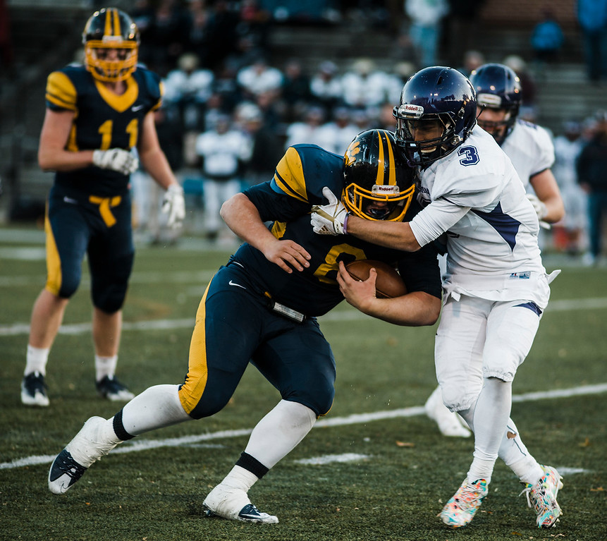 . Littleton\'s Mitch Beaudoin runs the ball during the Central Mass D6 championship against St. Peter-Marian on Saturday, November 11, 2017. Littleton\'s victory puts them into the Super Bowl, to be held at Gillette Stadium in December. SENTINEL & ENTERPRISE / Ashley Green