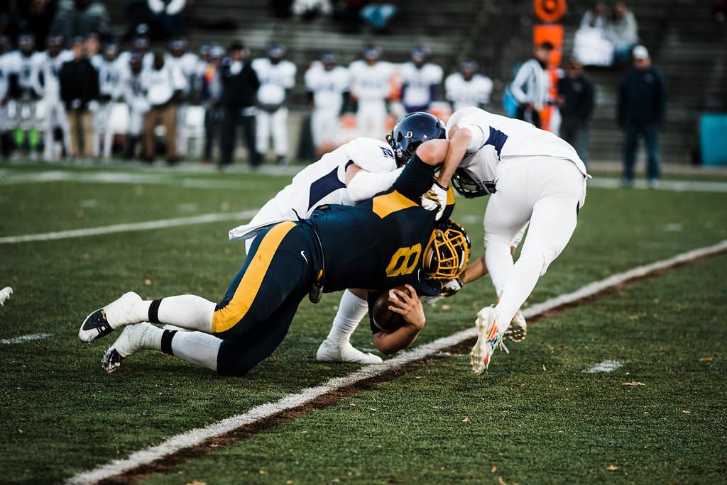 . Littleton in action during the Central Mass D6 championship against St. Peter-Marian on Saturday, November 11, 2017. Littleton\'s victory puts them into the Super Bowl, to be held at Gillette Stadium in December. SENTINEL & ENTERPRISE / Ashley Green
