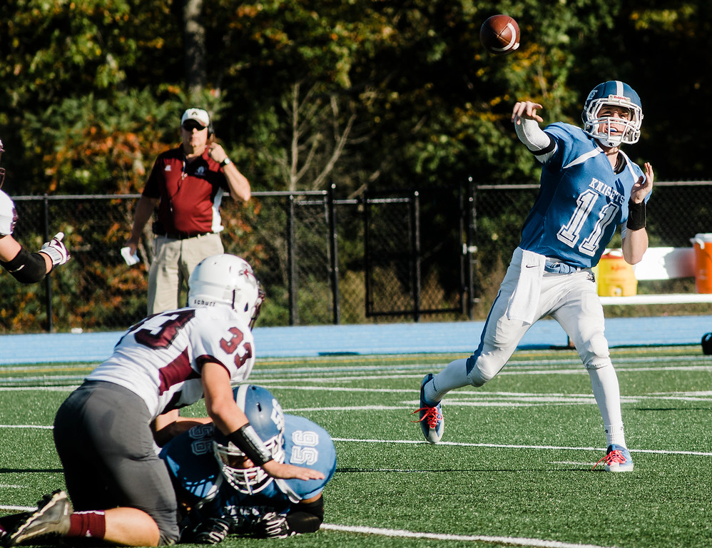 . Lunenburg\'s Christopher Costich throws a pass during the game against Ayer-Shirley on Saturday, October 14, 2017. SENTINEL & ENTERPRISE / Ashley Green