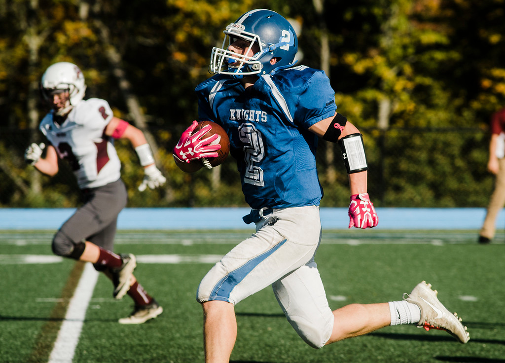. Lunenburg\'s Anthony Iannacci runs it in for a touchdown during the game against Ayer-Shirley on Saturday, October 14, 2017. SENTINEL & ENTERPRISE / Ashley Green