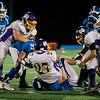 The Lunenburg defense brings down Monty Tech's Damitrius Sayarath during the game on Friday, September 22, 2017. SENTINEL & ENTERPRISE / Ashley Green