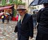 Paris Le Marais, Jewish man in rhe rain