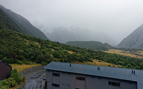 DAY 14: Rainy day at Mt. Cook, Hilary movie, jeep ride; view from hotel room