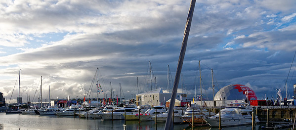 Auckland harbor view at sunset