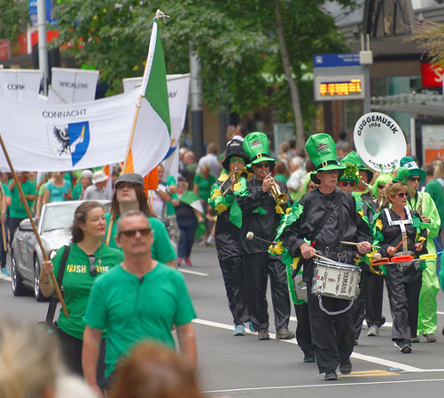 The band followed by flags of Irish counties