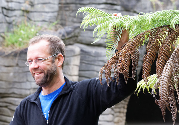 Logan, our cave guide, showing us the NZ national emblem, the silver fern