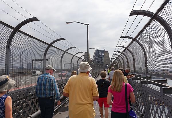 Here we are walking the Sydney Harbor Bridge - on the pedestrian level