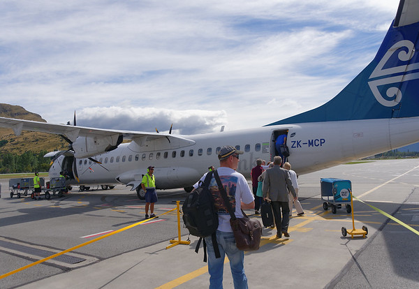 Boarding our flight from Queenstown to Wellington