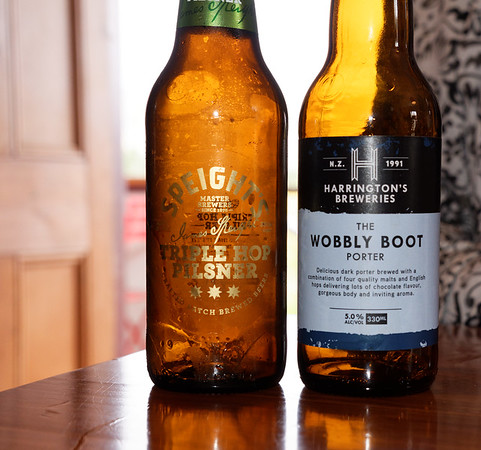Speight (pronounced Spite's), the favorite beer of Jack, our New Zealand bus driver, and a local porter ale, Wobbly Boot, very good