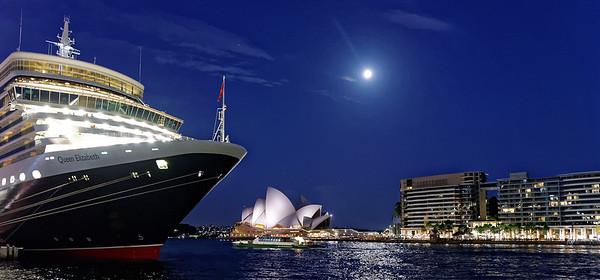 QE and Opera House at night