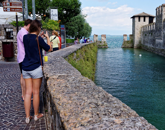 Sirmione; here comes a swan and the kids