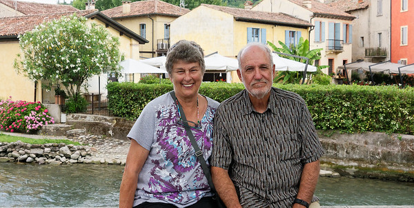 Valeggio and the Mincio river; Suzanne and Richard