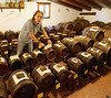 Acetaia Casselli, up in the attic Simone explains why what's bad for wine is good for vinegar - wine is transferred through the line of barrels, getting smaller until it reaches the 12/24 year barrel