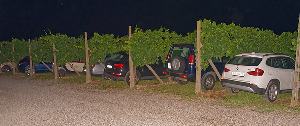 Selva Capuzza; it was Saturday night and there was a full house - paking in the vineyards