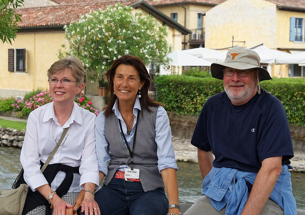 Valeggio and the Mincio river; Lucy, Chiara, and Jim