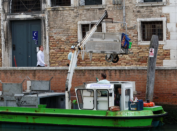 Venice; supplies and trash all have to be hauled by boat